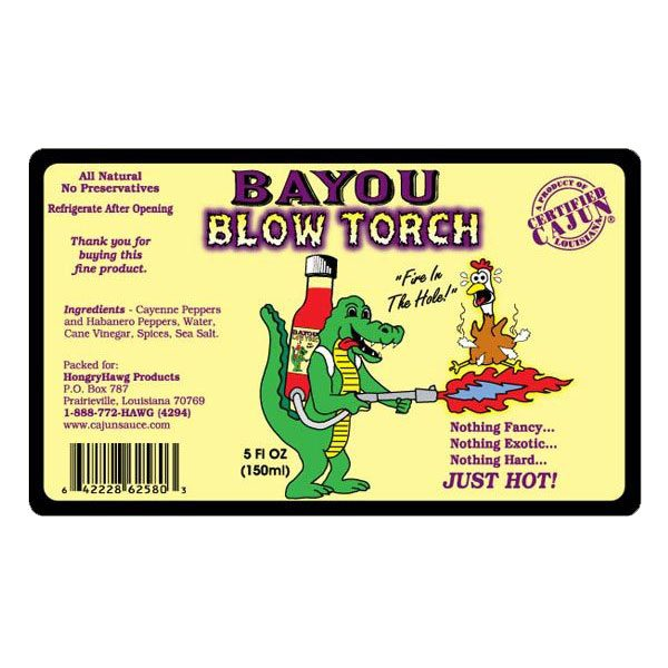 Bayou Blow Torch Hot Sauce Label
