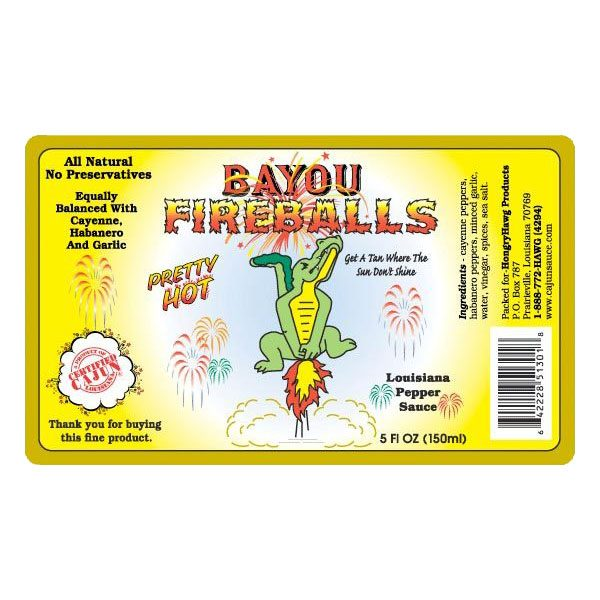 Bayou Fireballs Hot Sauce Label