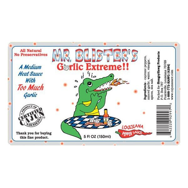 Mr. Bilster's Garlic Extreme Hot Sauce Label