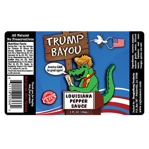 Trump Bayou Hot Sauce Label